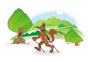 nordi walking fox cartoon